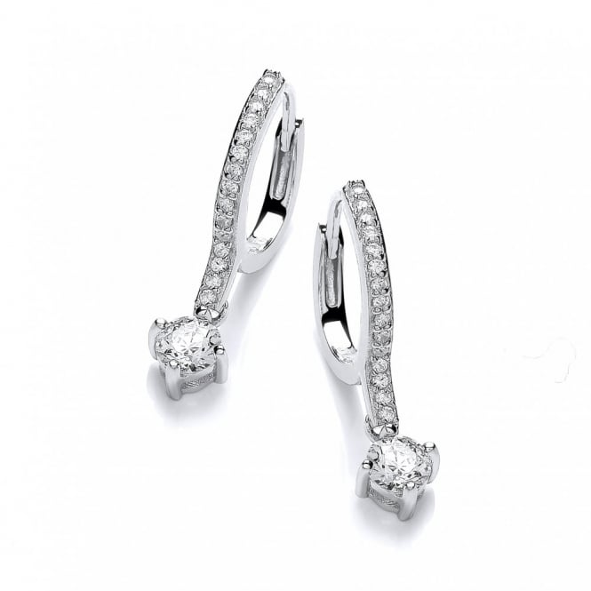 DiamonDust Jewellery Sterling Silver Stone Drop Hoop Earrings Made With Swarovski Zirconia