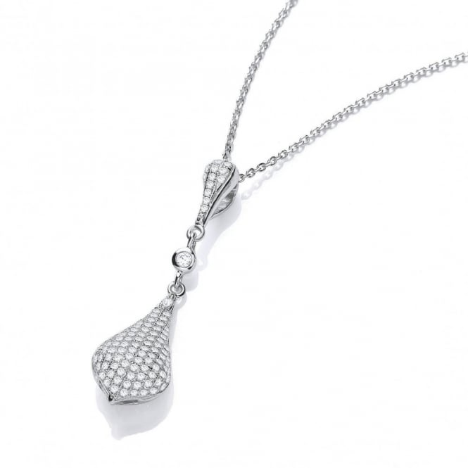 DiamonDust Jewellery Sterling Silver Tear Drop Necklace Pave setting Made with Swarovski Zirconia