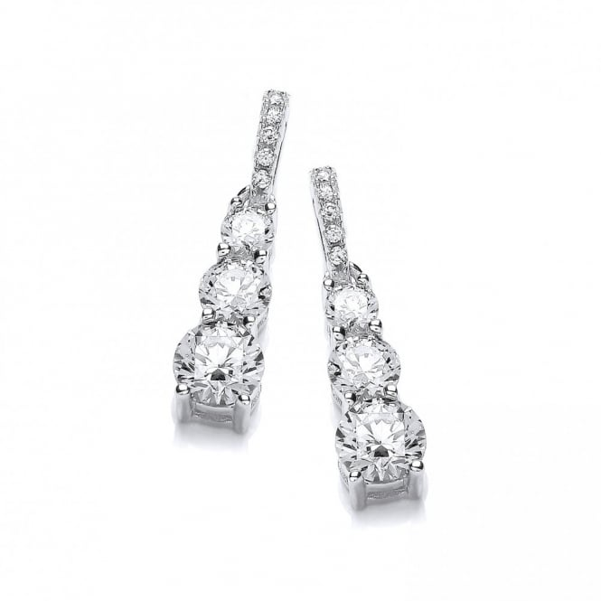 DiamonDust Jewellery Sterling Silver Trio Drop Earrings Made With Swarovski Zirconia