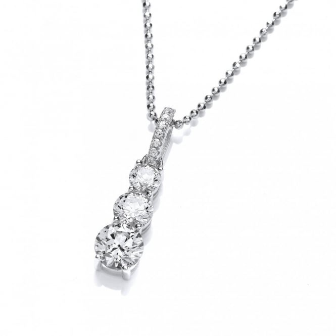 DiamonDust Jewellery Sterling Silver Trio Drop Necklace Created with Swarovski® Zirconia