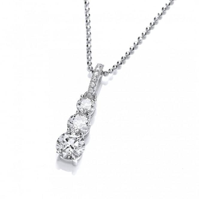 DiamonDust Jewellery Sterling Silver Trio Drop Necklace Made With Swarovski Zirconia