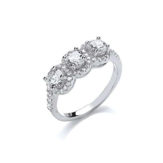 DiamonDust Jewellery Sterling Silver Trio Solitaire Ring Created with Swarovski® Zirconia