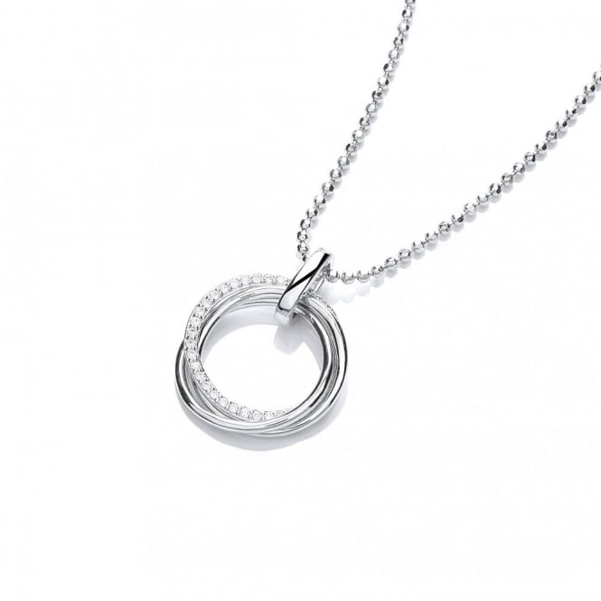 DiamonDust Jewellery Sterling Silver Triple Ring Pave Set Necklace Created with Swarovski® Zirconia