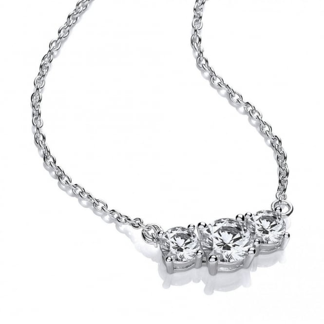 DiamonDust Jewellery Sterling Silver Triple Solitaire Necklace Made with Swarovski Zirconia