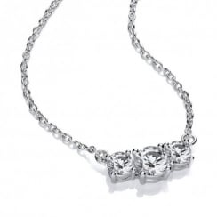 Sterling Silver Triple Solitaire Necklace Made with Swarovski Zirconia