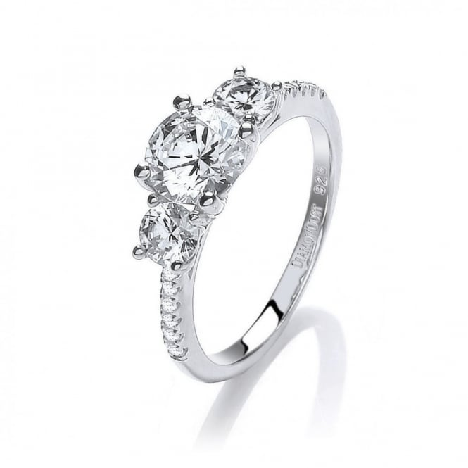 DiamonDust Jewellery Sterling Silver Triple Solitaire Ring Made with Swarovski Zirconia