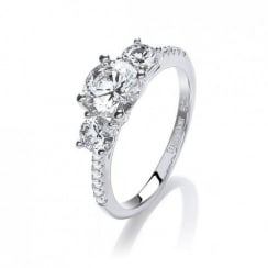Sterling Silver Triple Solitaire Ring Made with Swarovski Zirconia