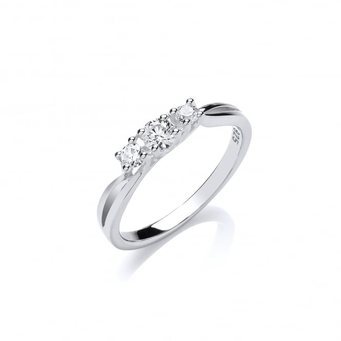DiamonDust Jewellery Sterling Silver Triple Solitaire Twisted Ring Made with Swarovski Zirconia