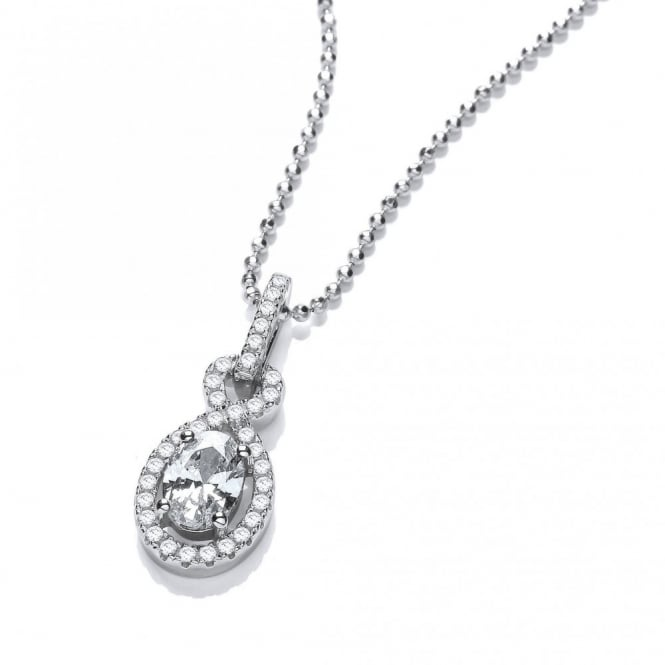 DiamonDust Jewellery Sterling Silver Twist Drop Necklace Made with Swarovski Zirconia