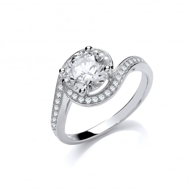 DiamonDust Jewellery Sterling Silver Twisted Fancy Solitaire Ring Made with Swarovski Zirconia