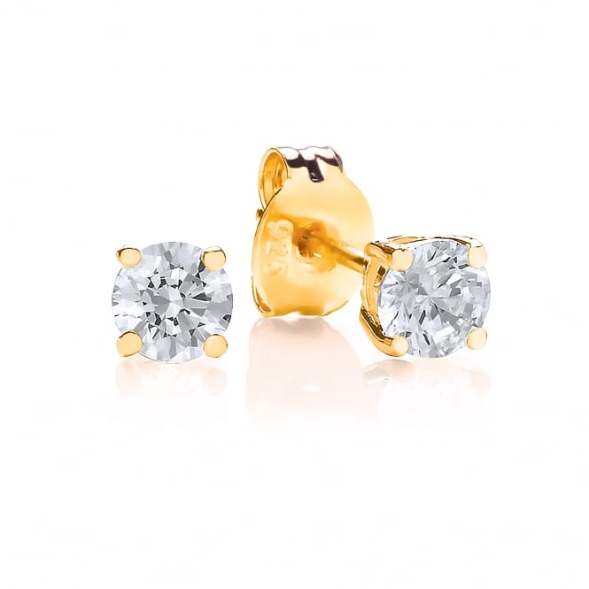 DiamonDust Jewellery Sterling Silver & Yellow Gold Plated 4mm Solitaire Claw Set Studs Made with Swarovski Zirconia