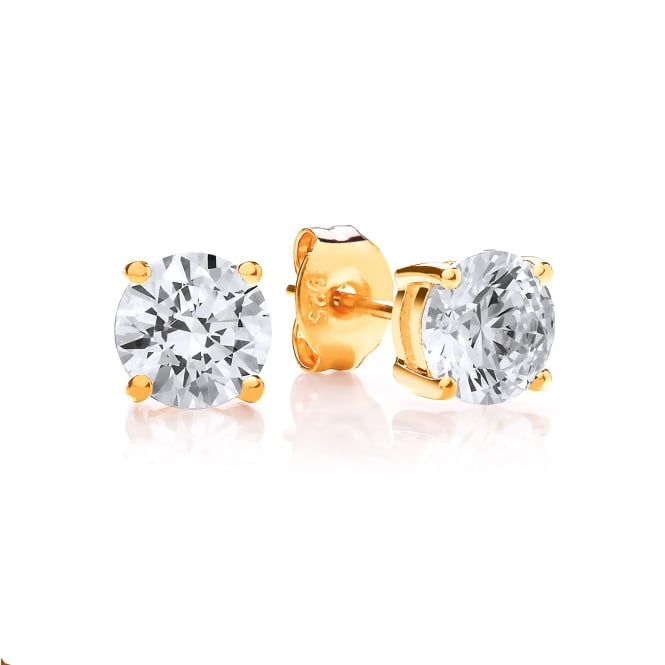 DiamonDust Jewellery Sterling Silver & Yellow Gold Plated 6mm Solitaire Claw Set Studs Made with Swarovski Zirconia