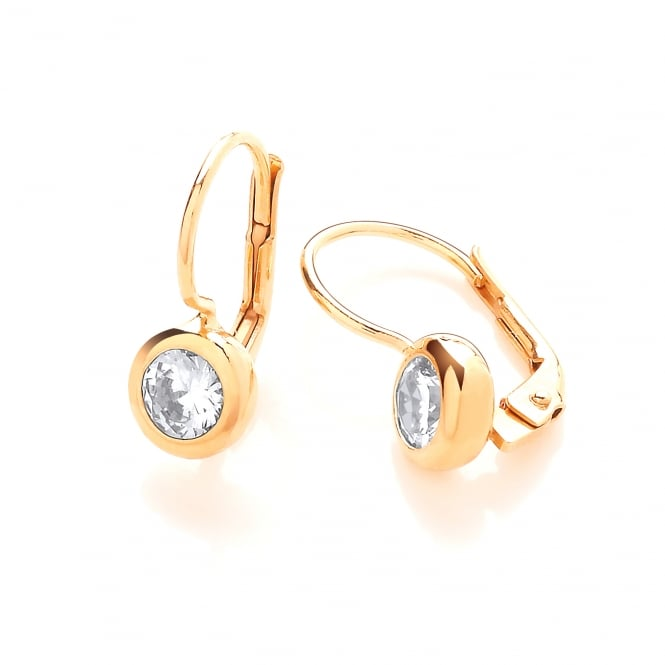 DiamonDust Jewellery Sterling Silver & Yellow Gold Plated 7mm Solitaire Solid Set Drop Earrings Made with Swarovski Zirconia