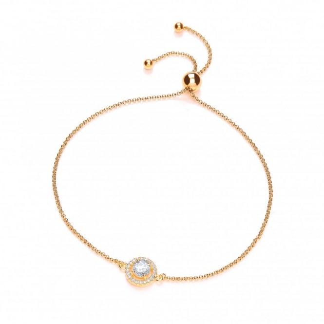 DiamonDust Jewellery Sterling Silver & Yellow Gold Plated Cluster Friendship Bracelet Created with Swarovski® Zirconia