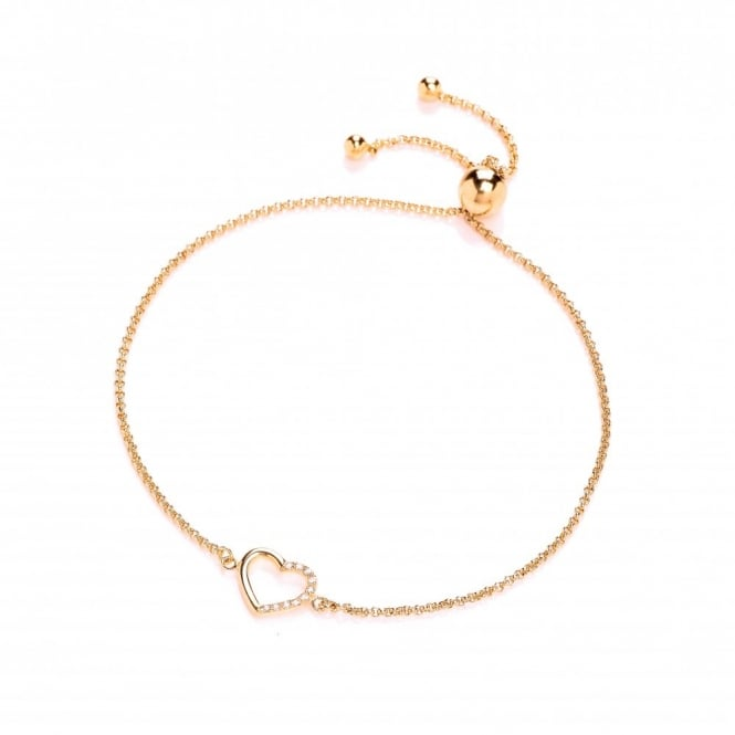 DiamonDust Jewellery Sterling Silver & Yellow Gold Plated Heart Friendship Bracelet Created with Swarovski® Zirconia