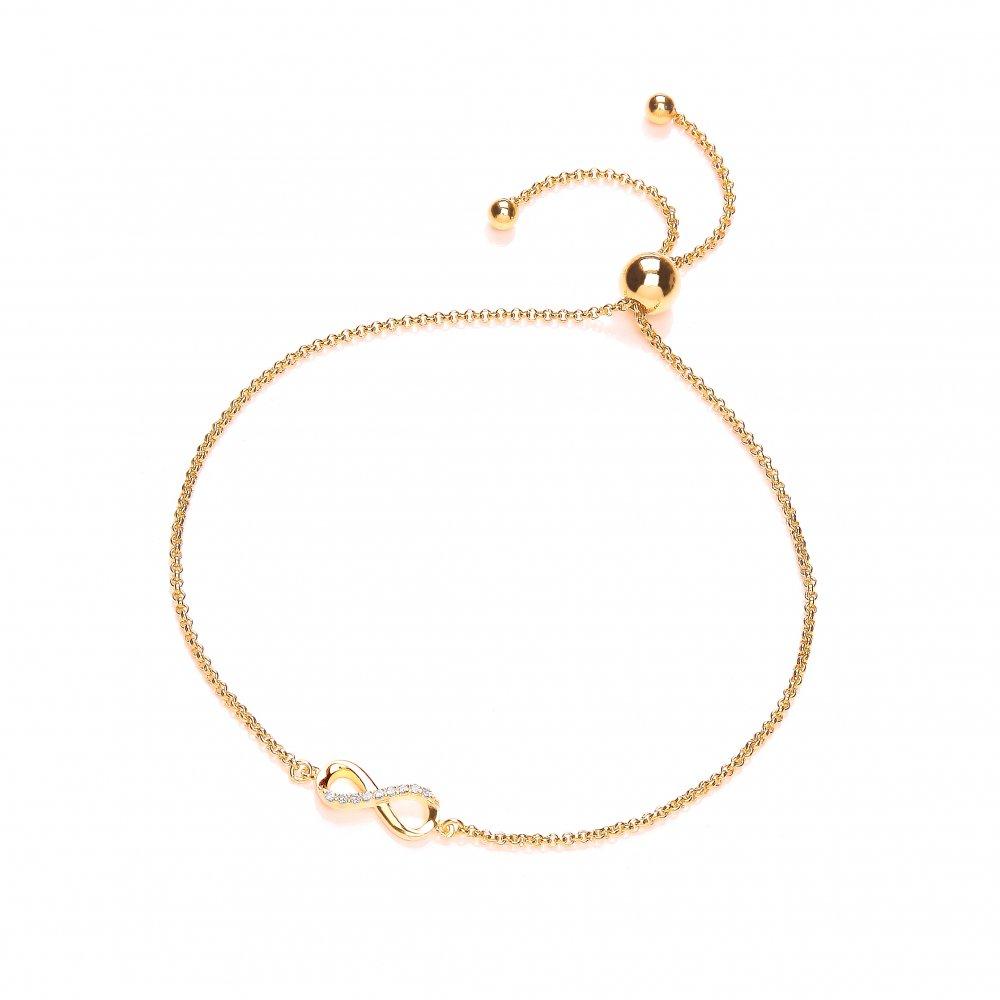 Friendship Bracelet Jewellery: Swarovski Zirconia Silver Yellow Gold Infinity Bracelet