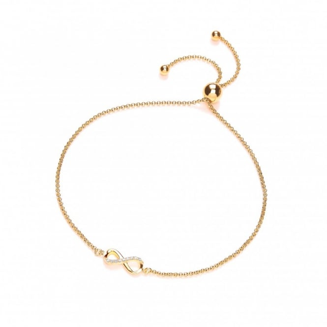 DiamonDust Jewellery Sterling Silver & Yellow Gold Plated Infinity Friendship Bracelet