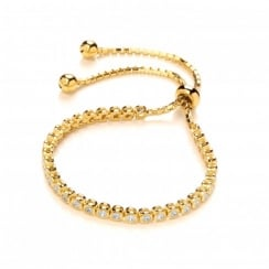 Sterling Silver & Yellow Gold Plated Tennis Friendship Bracelet Created with Swarovski® Zirconia