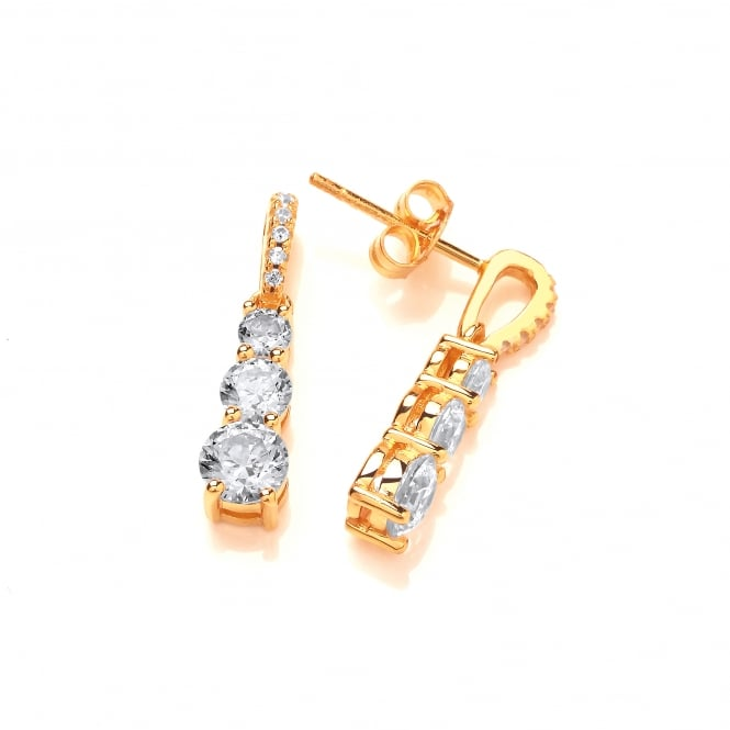 DiamonDust Jewellery Sterling Silver Yellow Gold Plated Trio Drop Earrings Created with Swarovski® Zirconia