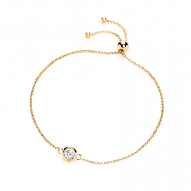 DiamonDust Jewellery Yellow Gold Plated & Sterling Silver Solitaire Friendship Bracelet