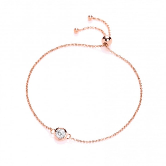 DiamonDust Jewellery Rose Gold Plated & Sterling Silver Solitaire Friendship Bracelet