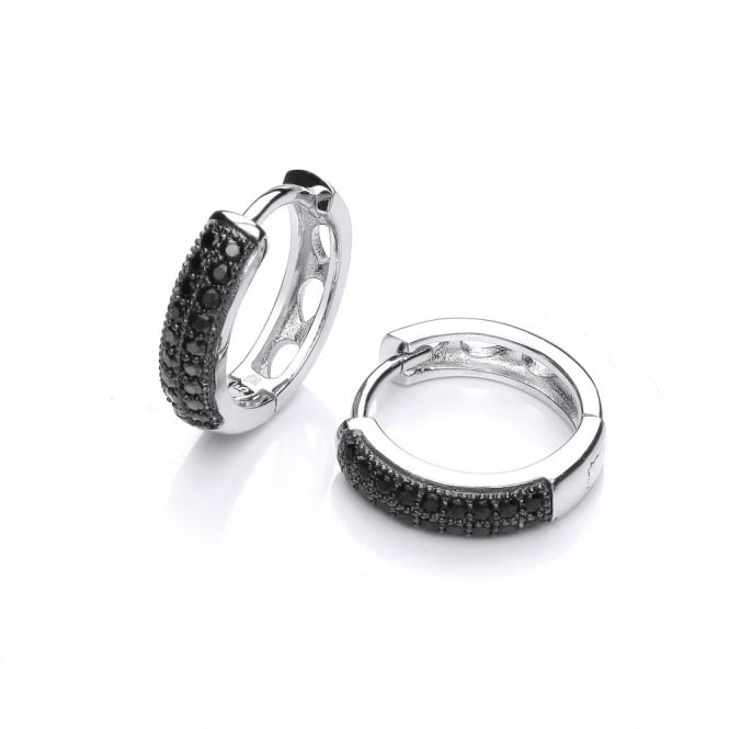 DiamonDust Jewellery Sterling Silver Black Round Hoop Earrings Made With Swarovski Zirconia