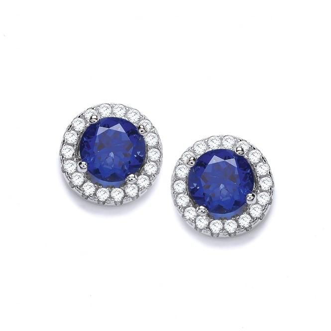 DiamonDust Jewellery Sterling Silver Blue Round Cluster Medium Earrings Made with Swarovski Zirconia