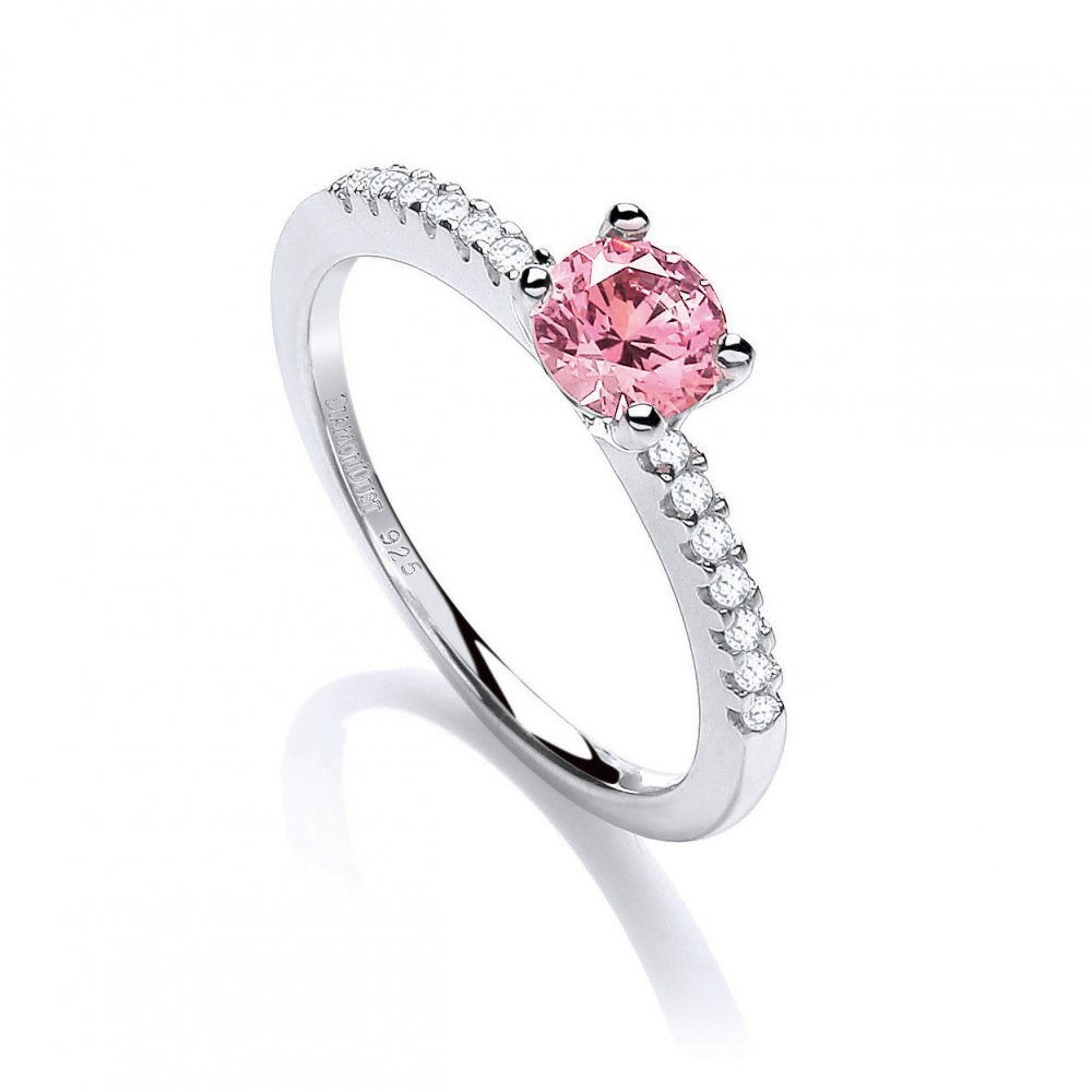 swarovski zirconia pink centred solitaire silver ring by. Black Bedroom Furniture Sets. Home Design Ideas