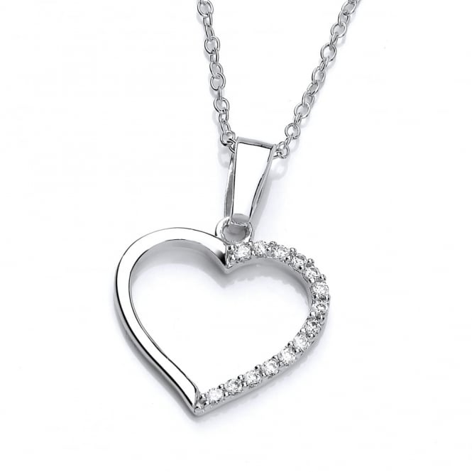 DiamonDust Jewellery Sterling Silver Classic Hollow Heart Pendant & Chain Made with Swarovski Zirconia
