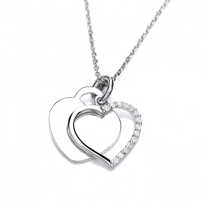DiamonDust Jewellery Sterling Silver Double Heart Necklace Made With Swarovski Zirconia
