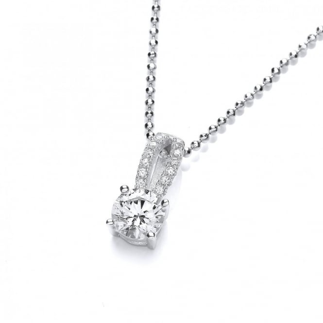 DiamonDust Jewellery Sterling Silver Double Line Solitaire Necklace Made With Swarovski Zirconia