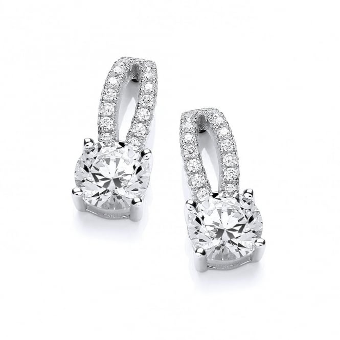 DiamonDust Jewellery Sterling Silver Double Line Solitaire Stud Earrings Made With Swarovski Zirconia