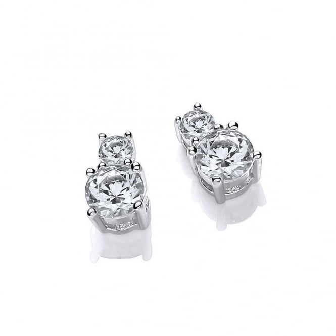 DiamonDust Jewellery Sterling Silver Double Solitaire Stud Earrings Made with Swarovski Zirconia
