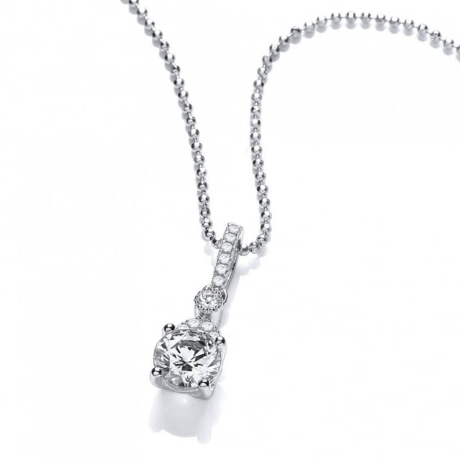 DiamonDust Jewellery Sterling Silver Drop Fancy Set Claw Solitaire Pendant & Chain Made with Swarovski Zirconia