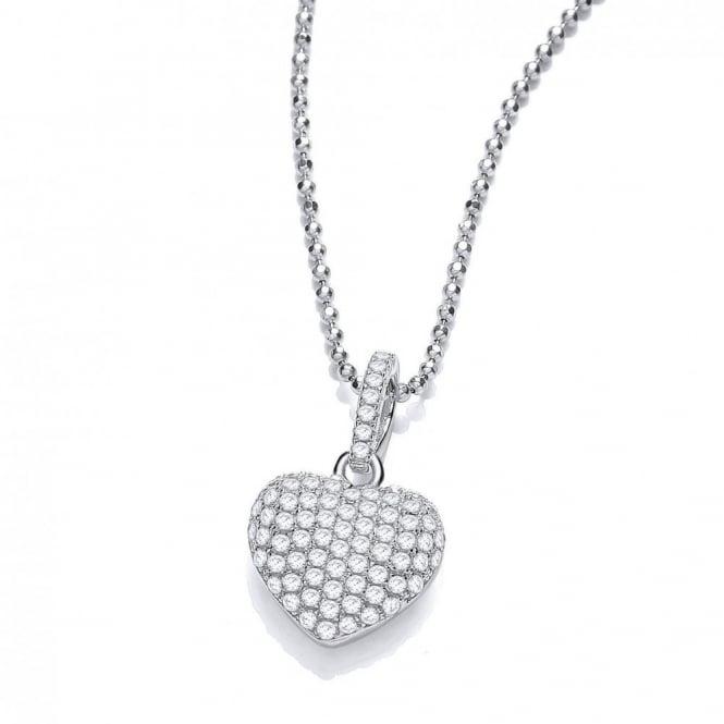 DiamonDust Jewellery Sterling Silver Elegant Heart Pave Setting Pendant & Chain Made with Swarovski Zirconia