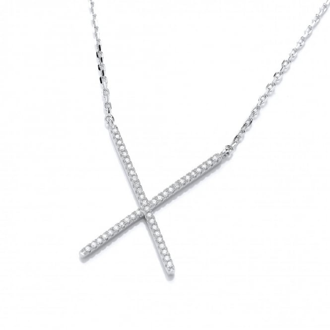 DiamonDust Jewellery Sterling Silver Fine Crossover Necklace Made With Swarovski Zirconia
