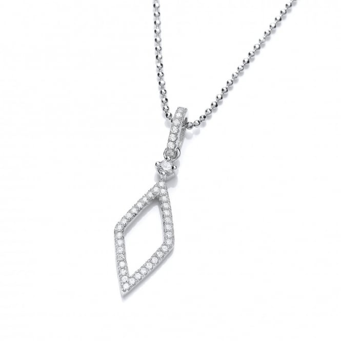 DiamonDust Jewellery Sterling Silver Fine Lozenge Necklace Made With Swarovski Zirconia