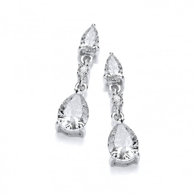 DiamonDust Jewellery Sterling Silver Fine Triple Tear Drop Earrings Made With Swarovski Zirconia
