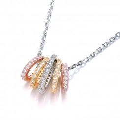 Sterling Silver & Gold Plated Graduated Hoops Necklace Made With Swarovski Zirconia