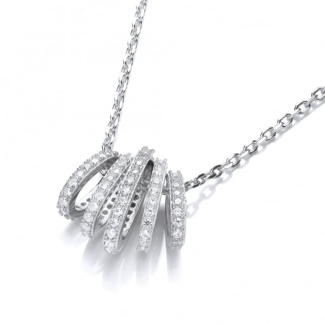 DiamonDust Jewellery Sterling Silver Graduated Hoops Necklace Made With Swarovski Zirconia
