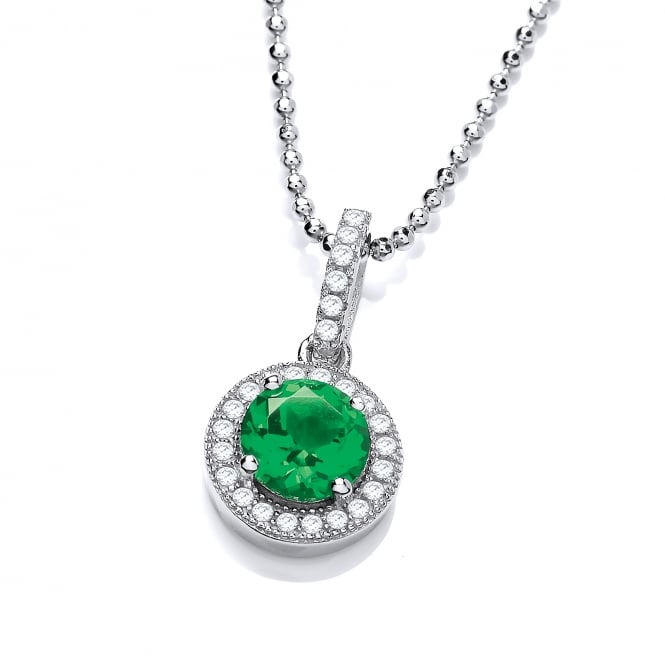 DiamonDust Jewellery Sterling Silver Green Round Cluster Necklace Made with Swarovski Zirconia