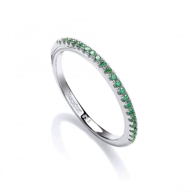 DiamonDust Jewellery Sterling Silver Half Green Eternity Ring Made with Swarovski Zirconia