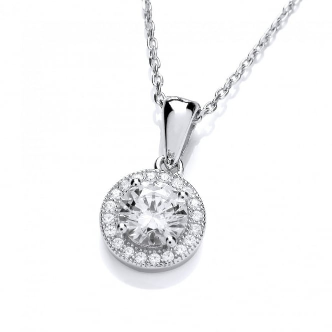 DiamonDust Jewellery Sterling Silver Halo Pendant and Chain Made with Swarovski Zirconia