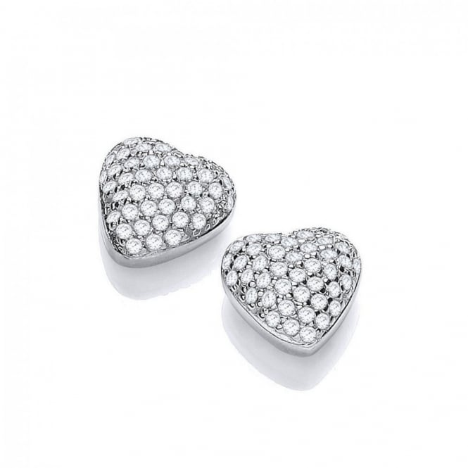 DiamonDust Jewellery Sterling Silver Heart Pave Setting Earrings Made with Swarovski Zirconia