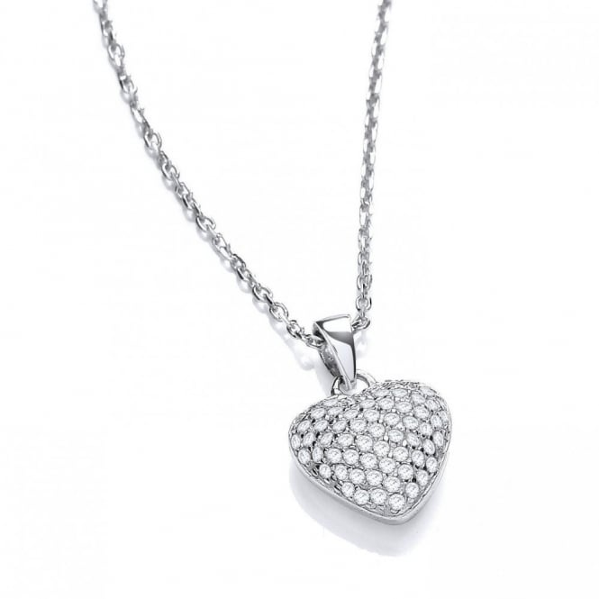 DiamonDust Jewellery Sterling Silver Heart Pave Setting Pendant & Chain Made with Swarovski Zirconia