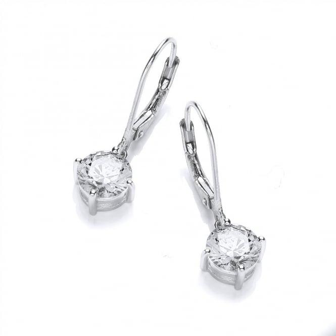 DiamonDust Jewellery Sterling Silver Hook & Solitaire Drop Earrings Made With Swarovski Zirconia