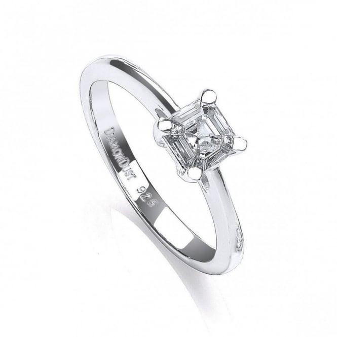 DiamonDust Jewellery Sterling Silver Imperial Cut 4 Claw Set Ring Made with Swarovski Zirconia