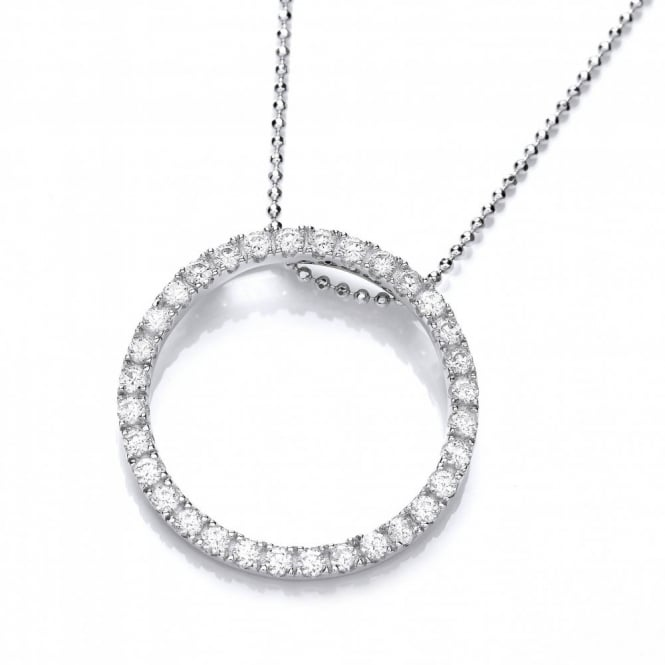DiamonDust Jewellery Sterling Silver Large Studded Circle Necklace Made With Swarovski Zirconia