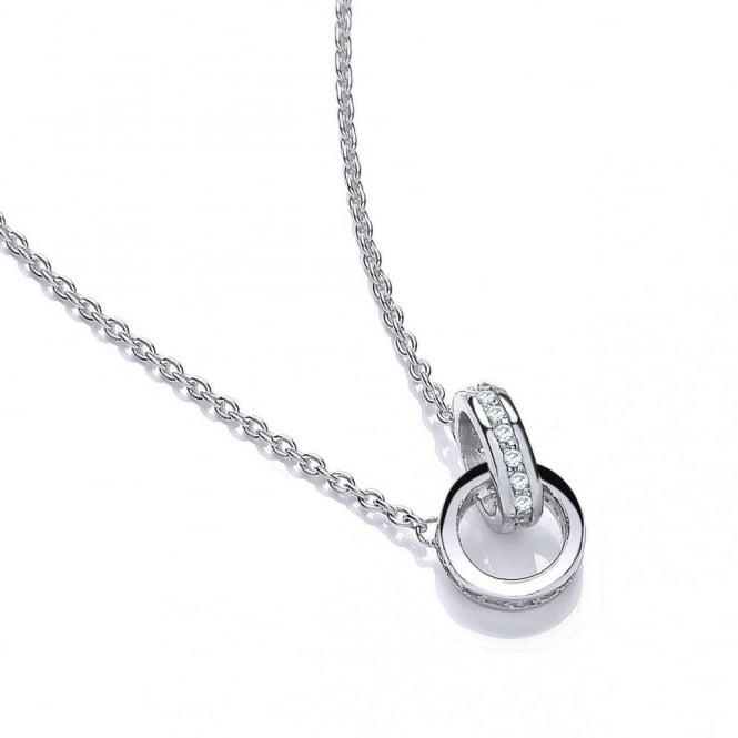 DiamonDust Jewellery Sterling Silver Linked Rings Necklace Made with Swarovski Zirconia