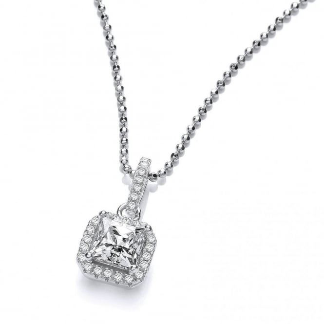 DiamonDust Jewellery Sterling Silver Medium Square Cluster Necklace Made with Swarovski Zirconia